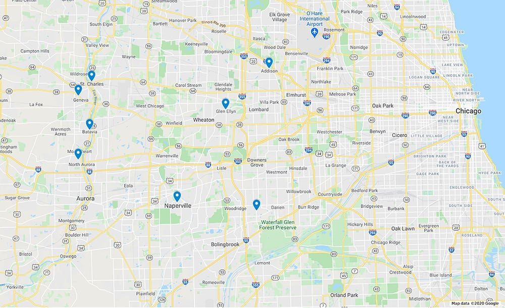 accurate door service area map